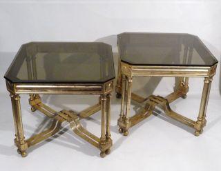 Mid Century Regency Gold/black Speckle Metal Side Tables 1950s photo