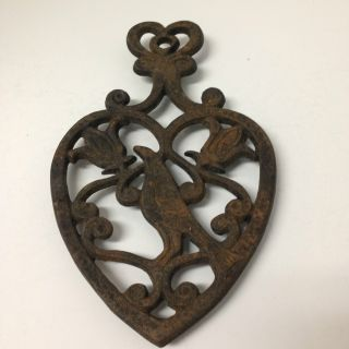 Vintage Cast Iron Trivet Distelfink Bird Kitchen Collectible,  Marked photo
