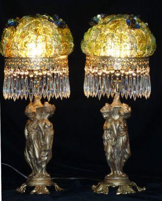 2 Antique Nouveau Stl Gilt Spelter Lady 3graces Lamp Beaded Glass Shade Vintage photo