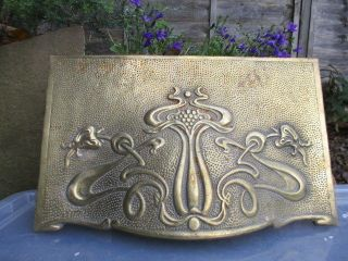 Victorian Solid Cast Brass Fire Hood Art Nouveau Architectural Antique Floral photo