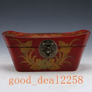 Vintage Style Hardwood Hand - Painting Phoenix Gold Ingot Box Storage Box photo