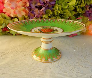 Gorgeous Antique English Porcelain Compote Tazza Green Gold Encrusted Fruit photo