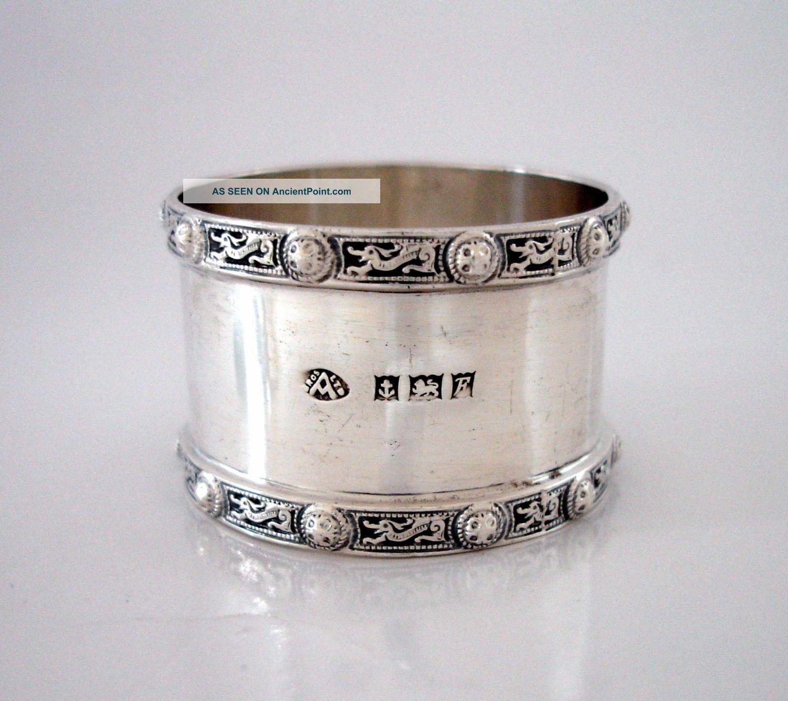 Ramsden Style Keltic Dragon Rims English Sterling Silver Napkin Ring Adie Bros Napkin Rings & Clips photo