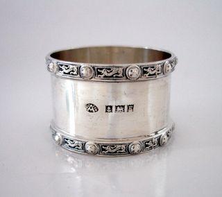 Ramsden Style Keltic Dragon Rims English Sterling Silver Napkin Ring Adie Bros photo