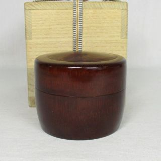 G693: Japanese Lacquer Ware Tasteful Powdered Tea Container Made From Bamboo photo