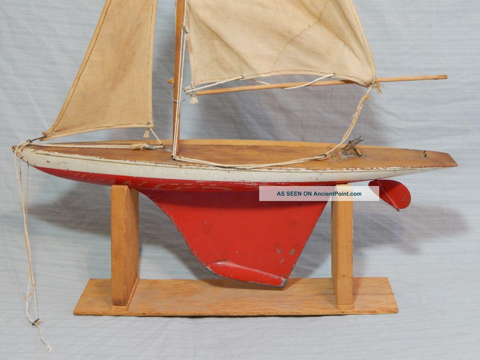 Vintage Jacrim Sailboat Pond Model Hollow Boat 21