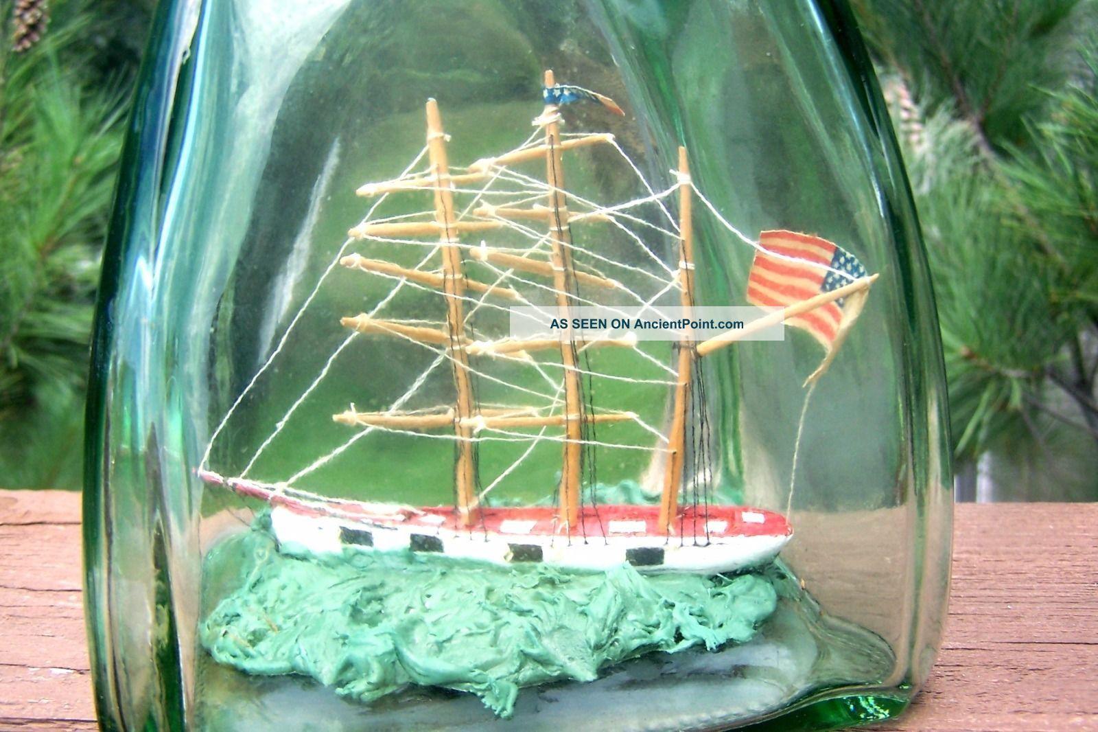 C.  1950 ' S Ship In Bottle Folk Art,  Interesting Light - Green Vertical Glass Bottle Model Ships photo