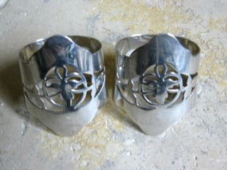 Antique Solid Silver - - Pr.  Of Large Pierced Napkin Rings - - H`mark: - Birmingham 1919 photo