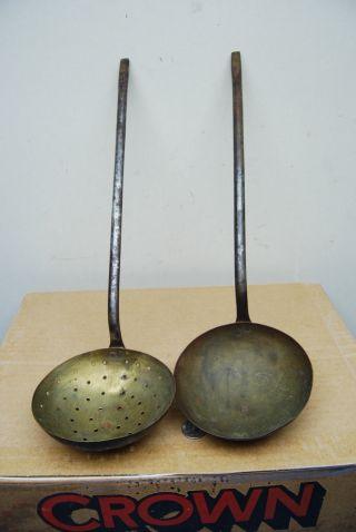 19thc.  Antique Primitive Copper Strainer & Dipper Wrought Iron Long Handle Tools photo