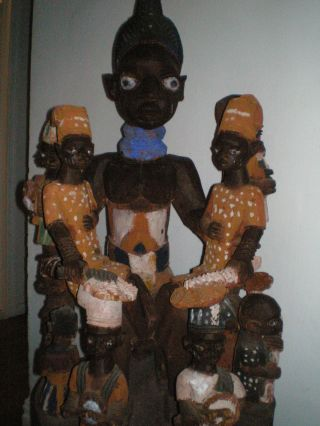Very Large Yoruba Arugba Statue Multiple Figures 37  Tall photo
