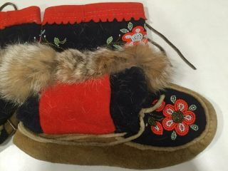 Vintage Hide,  Fur,  Trade Cloth & Beaded Moccassins