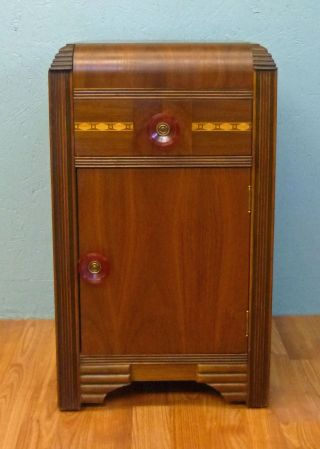 Ant Art Deco Waterfall Nightstand W/ Drawer 1930s photo