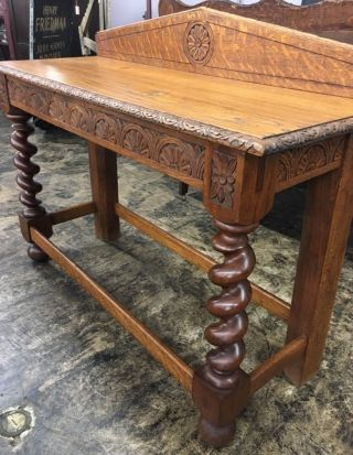 Antique Solid Tiger Oak Heavily Carved Hall Table W/barley Twist Legs photo