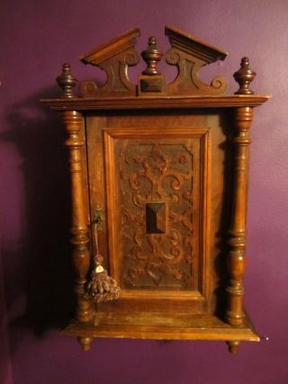 Antique Victorian Wood Carved Wall Cabinet W Shelves Key & Tassel Gothic Church photo
