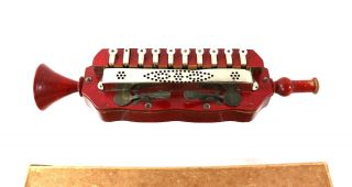 1890s Blow Harmonica Germany,  Red Wood Antique Musical Instrument photo