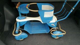 Vintage 1940 - 50s Taylor Tot Baby Walker/stroller W/fenders Blue & White photo