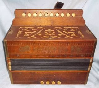 Antique 1920 ' S Wooden Hohner Steel Reed Button Accordion Made In Germany - Vg. photo