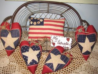 Handmade Patriotic Flag Appliqued Heart Ornies Bowl Fillers Wreath - Making Idecor photo