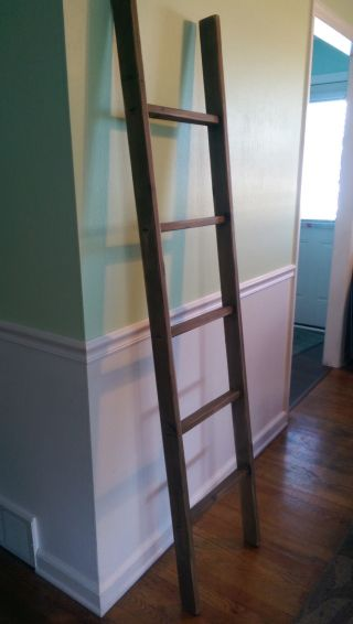 Handmade Weathered Alder Wood Ladder 6ft Rustic 72