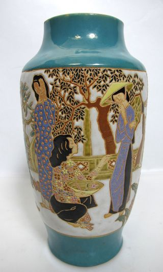 Post Vietnam War Deco Sty.  Indochine Carved Scenery Studio Art Vase Thanh Le Yqz photo