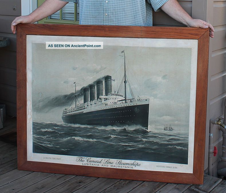Antique Litho Cunard Steam Ship Rms Lusitania & Mauretania Ticket Office Sign Plaques & Signs photo