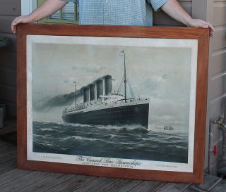 Antique Litho Cunard Steam Ship Rms Lusitania & Mauretania Ticket Office Sign photo