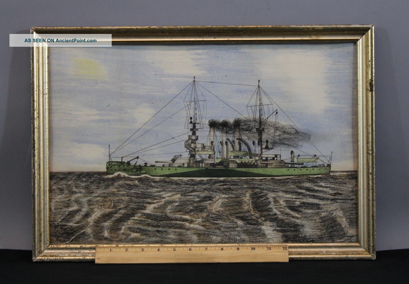 Antique Watercolor & Ink Painting Wwi Dreadnought Battleship Other Maritime Antiques photo