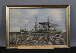 Antique Watercolor & Ink Painting Wwi Dreadnought Battleship photo