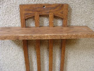 Vintage Craftsman Mission Style Solid Oak Wooden Wall Shelf Hanger Display photo