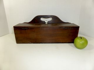 19th C Dovetailed Divided Box With Lid,  Carrying Handle Aafa photo