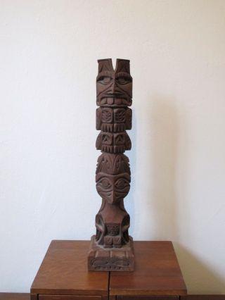 Vintage Tlingit Hand Carved Wooden Totem photo