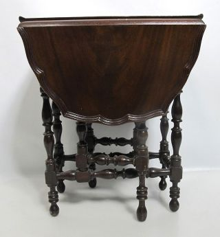 Antique Miniature Diminutive Gateleg Table W/pie Crust Rim 18