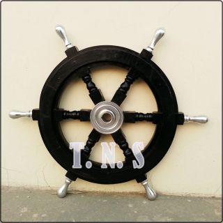 Nautical Boat Ships Wheel Antique Wooden Aluminum Ring 18