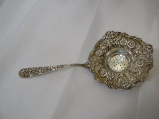 Stieff Rose Sterling Silver Repousse Tea Strainer photo