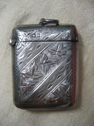 Beatifully Engraved English Sterling Match Safe Vesta Case From Chester photo