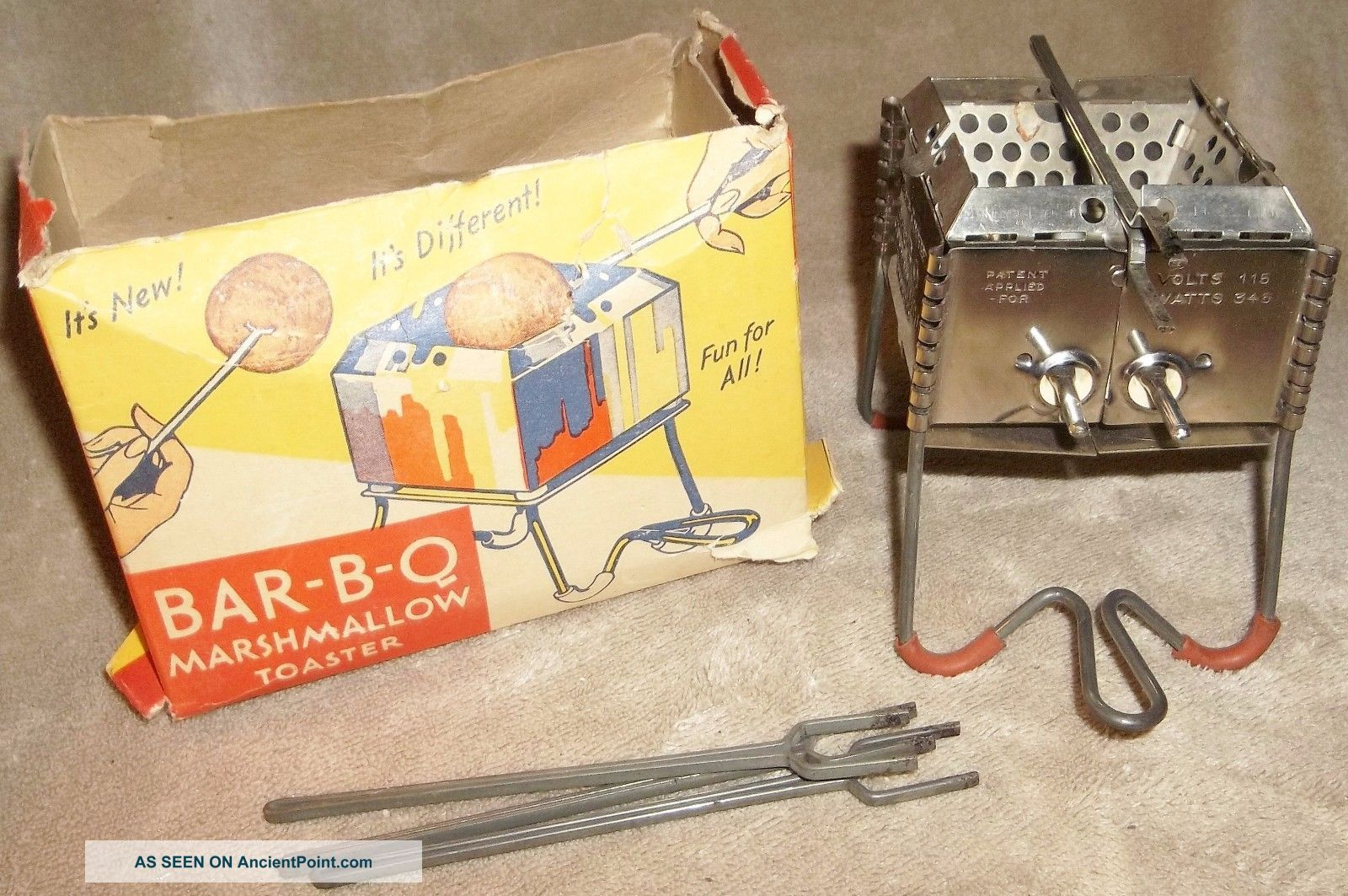 Vintage 1930 ' S? Angelus - Campfire Bar - B - Q Marshmallow Toaster W/ Orig.  Box & Toasters photo