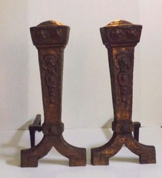 1900 ' S Arts & Crafts Mission Ohio F And M Co.  Hammered Bronze Cast Iron Andirons photo