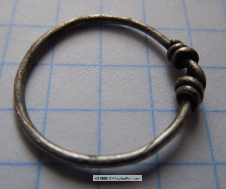 Celtic Period Silver Spiral Knotted Ring 800 - 1100 Ad Vf, Celtic photo