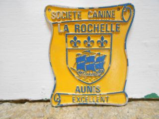 French Metal Regional Award Yellow Dog Plaque Sign Boat,  Lys La Rochelle photo