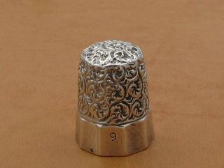 Antique 10 Panel Scroll Sterling Silver Sewing Thimble Simons Brothers Size 9 photo