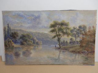 Antique Old Painting Australia River Val Delawarr 1880 - 1900 photo