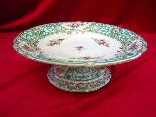 Antique Ornate Cake Dessert Stand Plate Green Painted Flowers photo