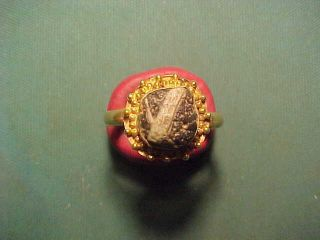 Roman Archaistic Gold Ring Banded Agate Stone. photo