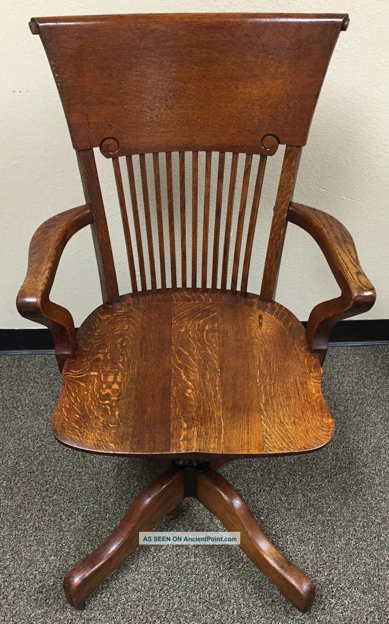 Antique Oak High Back Swivel Banker S Lawyer Executive Desk Chair Wakefield