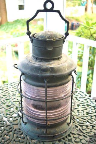 Very Large Antique Perko Marine Lantern Brass Verdigris Finish Great Piece photo