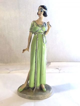 Vtg Art Deco Porcelain Flapper Girl Figurine Lime Green Chartreuse Dress Taiwan photo