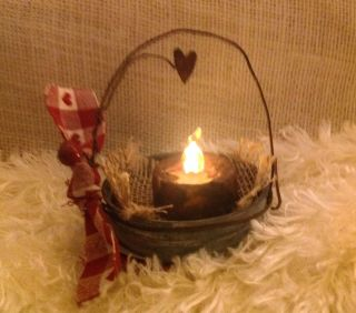 Primitive Antique Vintage Valentine Zinc Mason Jar Lid Battery Candle 6 Hrs On photo