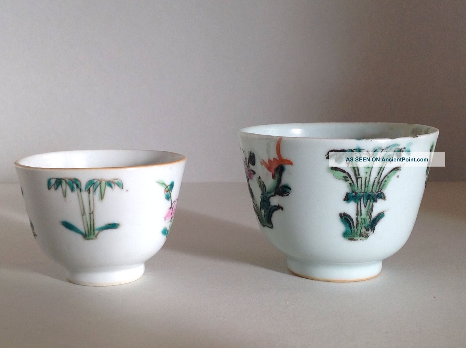 Two Chinese Cups Decorated In The Famille Rose Palette Porcelain photo