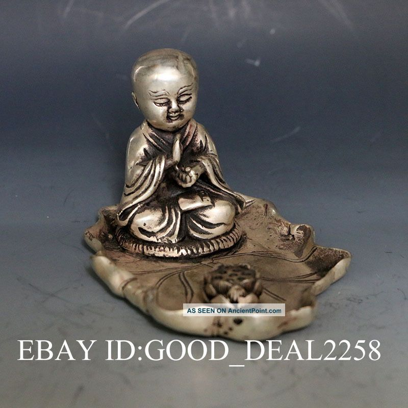 Exquisite China Silver Copper Hand - Carved Buddha Statue W Lotus Buddha photo