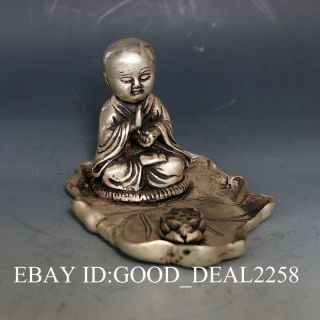 Exquisite China Silver Copper Hand - Carved Buddha Statue W Lotus photo